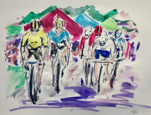 Hat Trick on the Tour of Britain - Cycling Painting