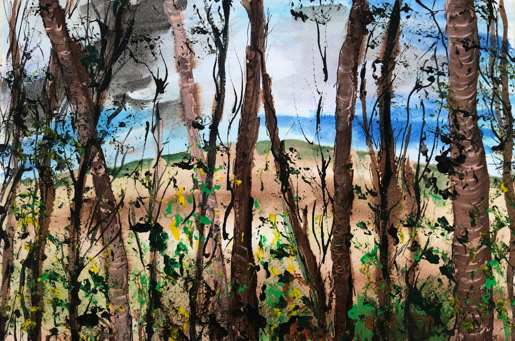 Guisborough Forest view through the trees- Landscape Drawing