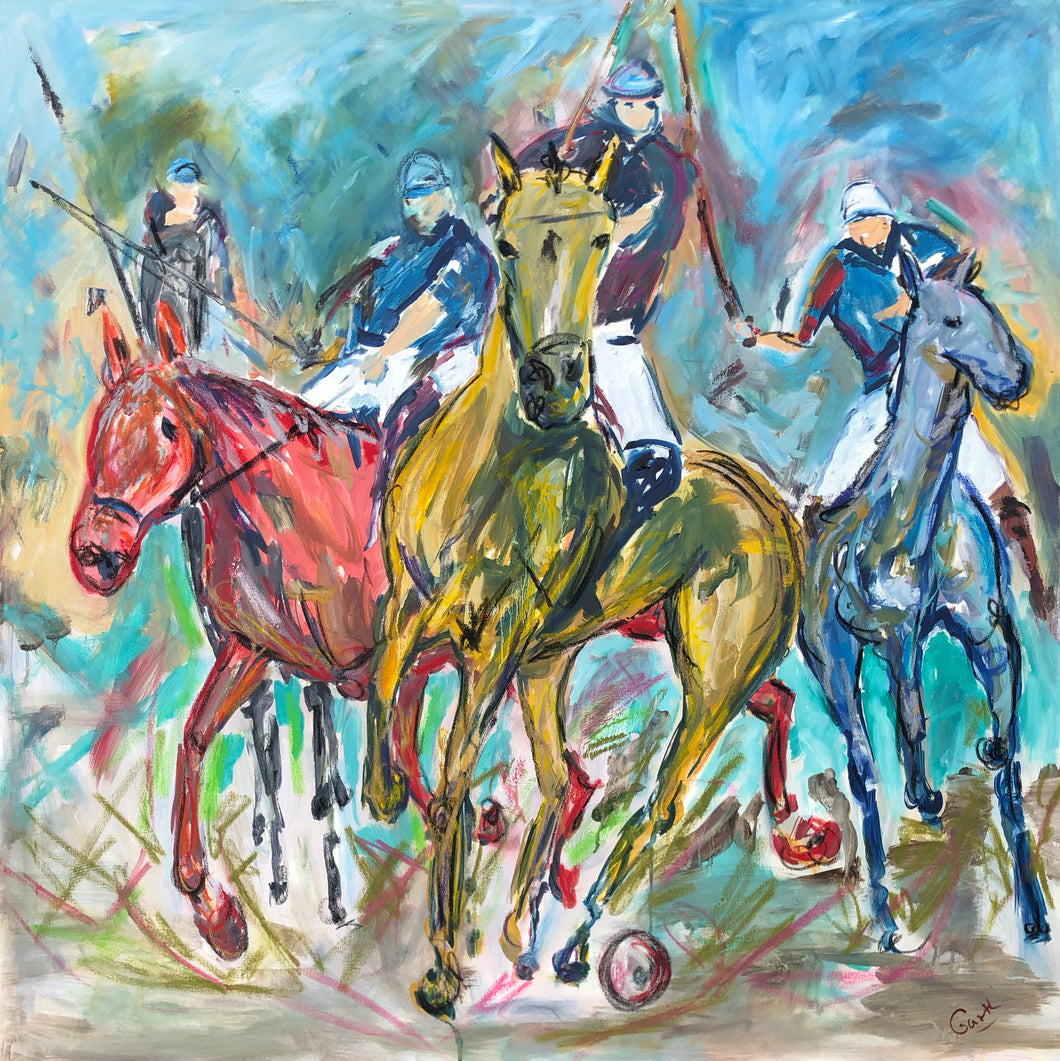 polo players - oil painting by Garth Bayley