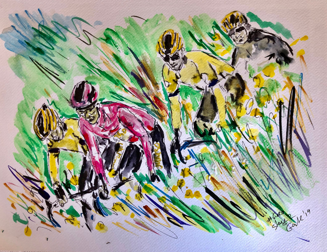Spring has sprung in the fields of the Bartali Stage - Cycling painting