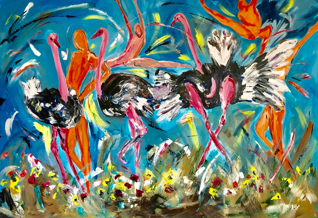 strutting ostriches with dancers