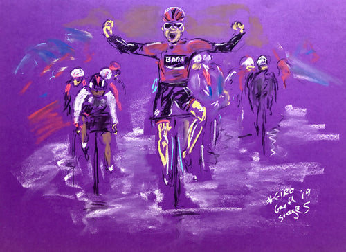 Winning in the Rain - Cycling Drawing