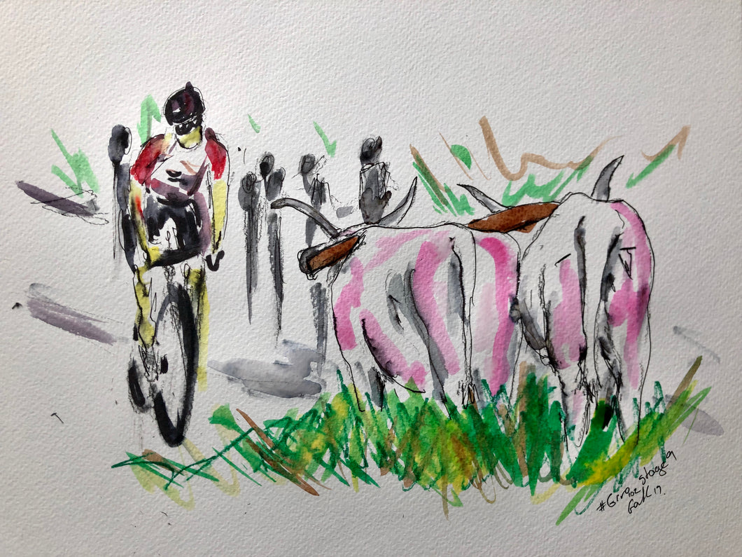 How Now Pink Cow - Cycling Painting