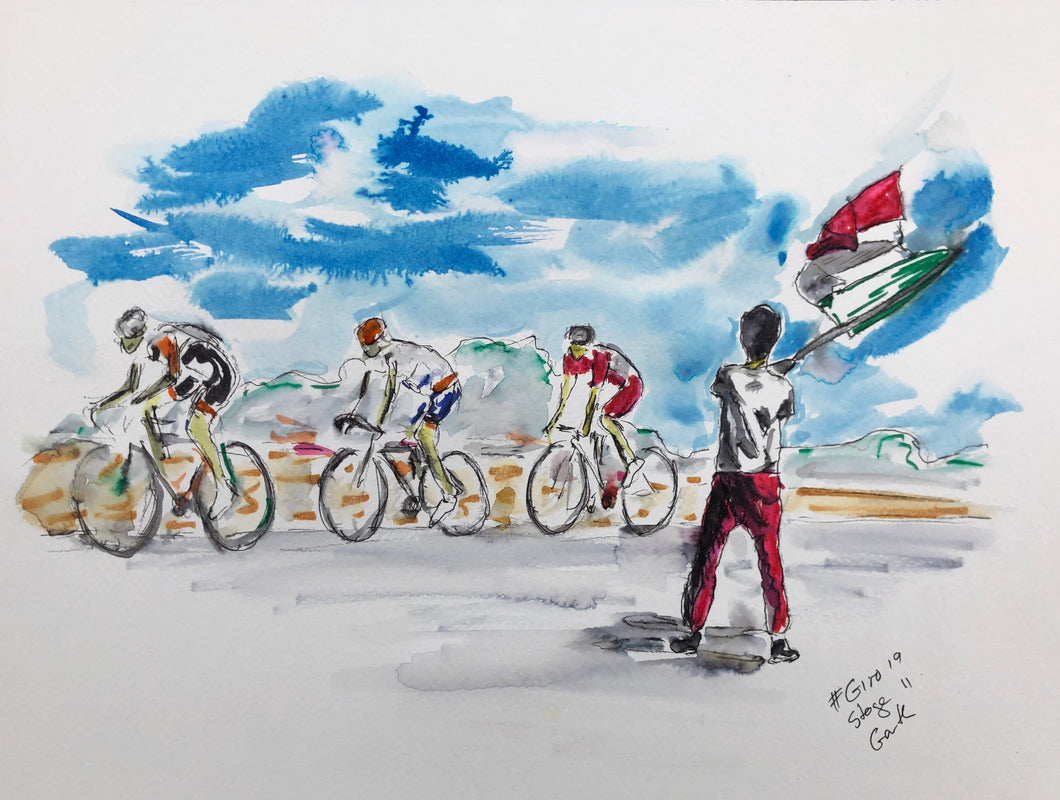 Waving the Italian flag - Cycling Painting
