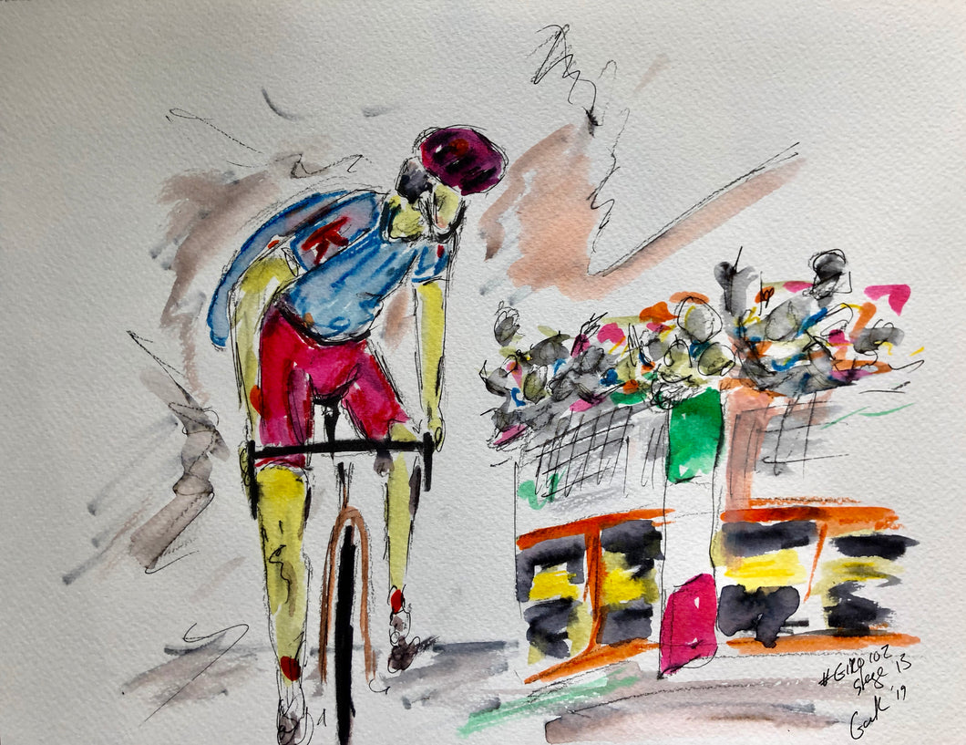 Solo Victory in the mountains - Cycling Painting