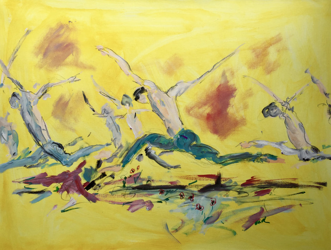 dancers, ballet, yellow