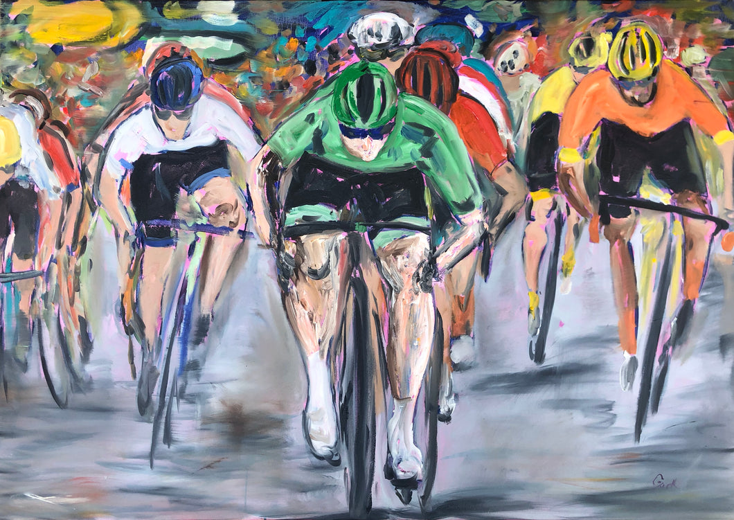 Tour de France - cycling painting- oil on canvas