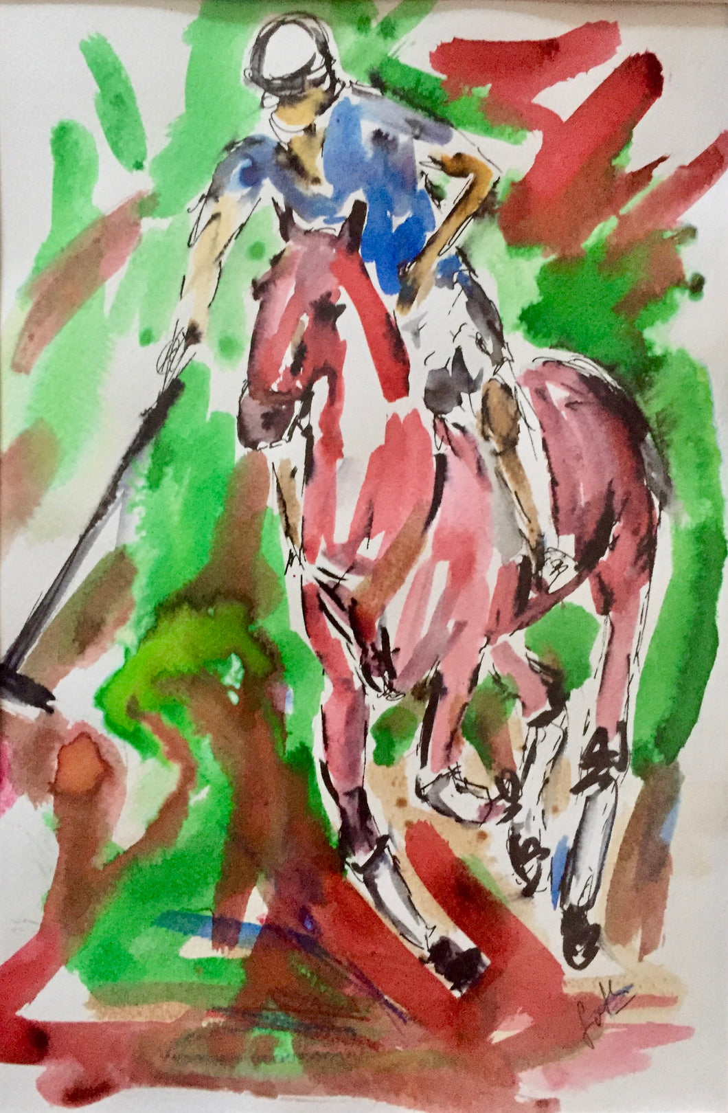 Polo Player in pen and ink - Red horse