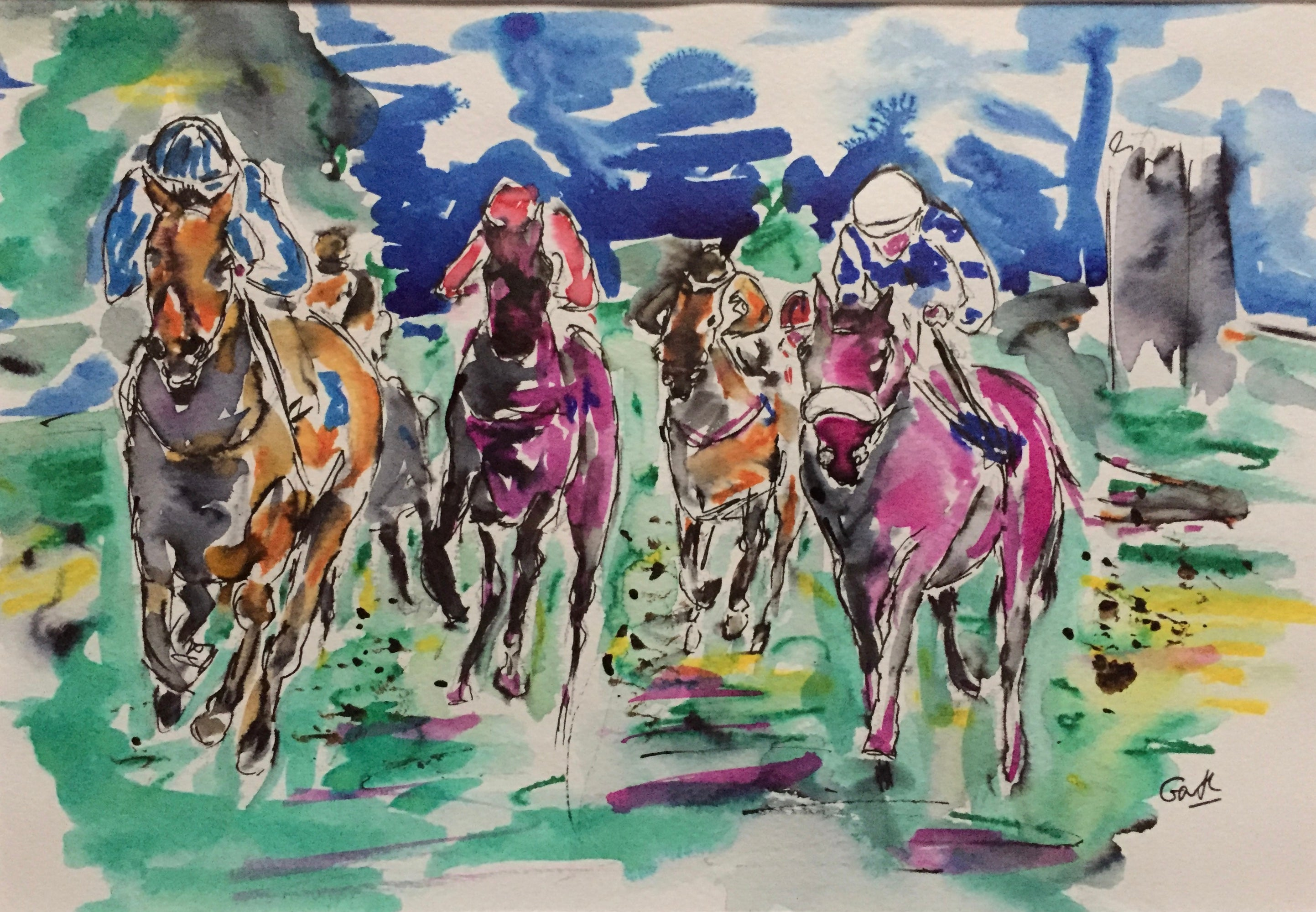 Horse racing art in ink