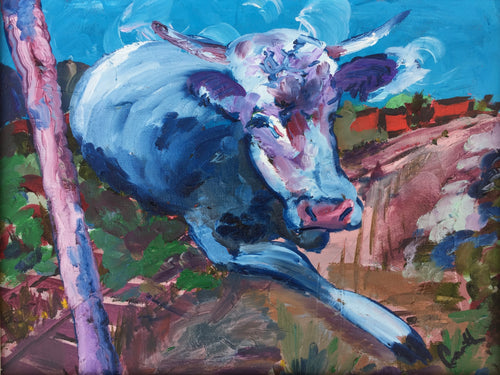 Blue cow oil painting