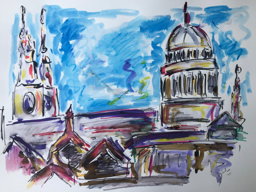 St Pauls from the South Bank - Cityscape Painting