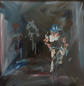 cyclist oil painting