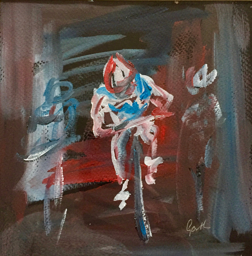 cyclists oil painting