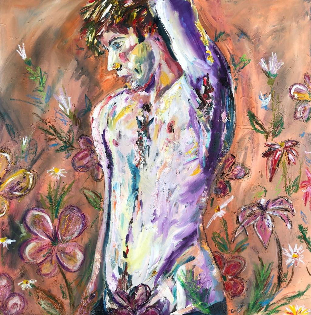 Male nude with flowers Scotland