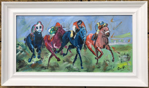 framed horse racing artwork