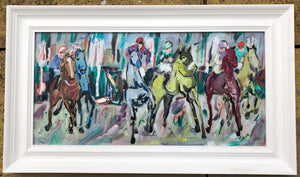framed picture of horse racing