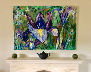 Iris painting in home setting
