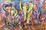 painting of family of elephants in bold colours