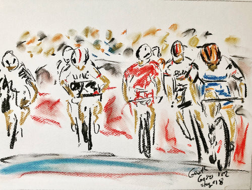 Sprint Finish . Giro stage 18 - Cycling Painting