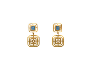 Margaret maze earrings in blue chalcedony
