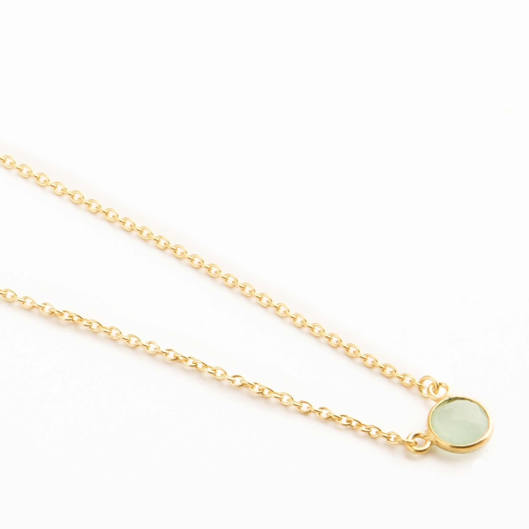 Adele mini gold-plated silver round chain in Aqua - Neckpieces