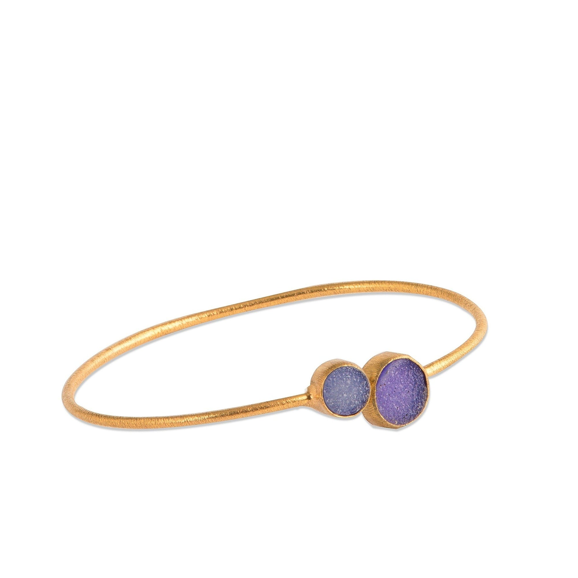 Demi - Gold - Purple Druzy - Bangle