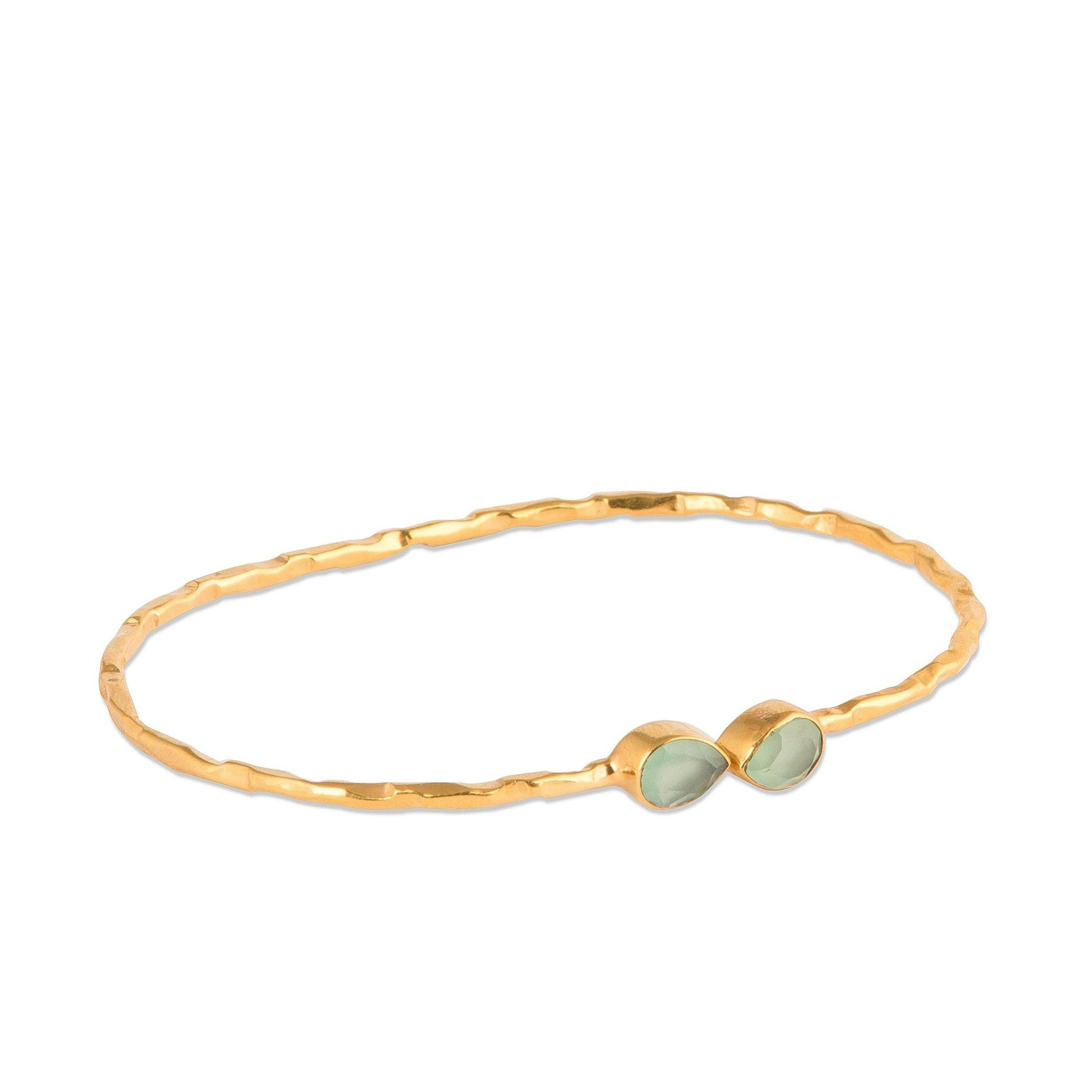 Francesca gold-plated silver hammered bangle in Aqua - Bangle