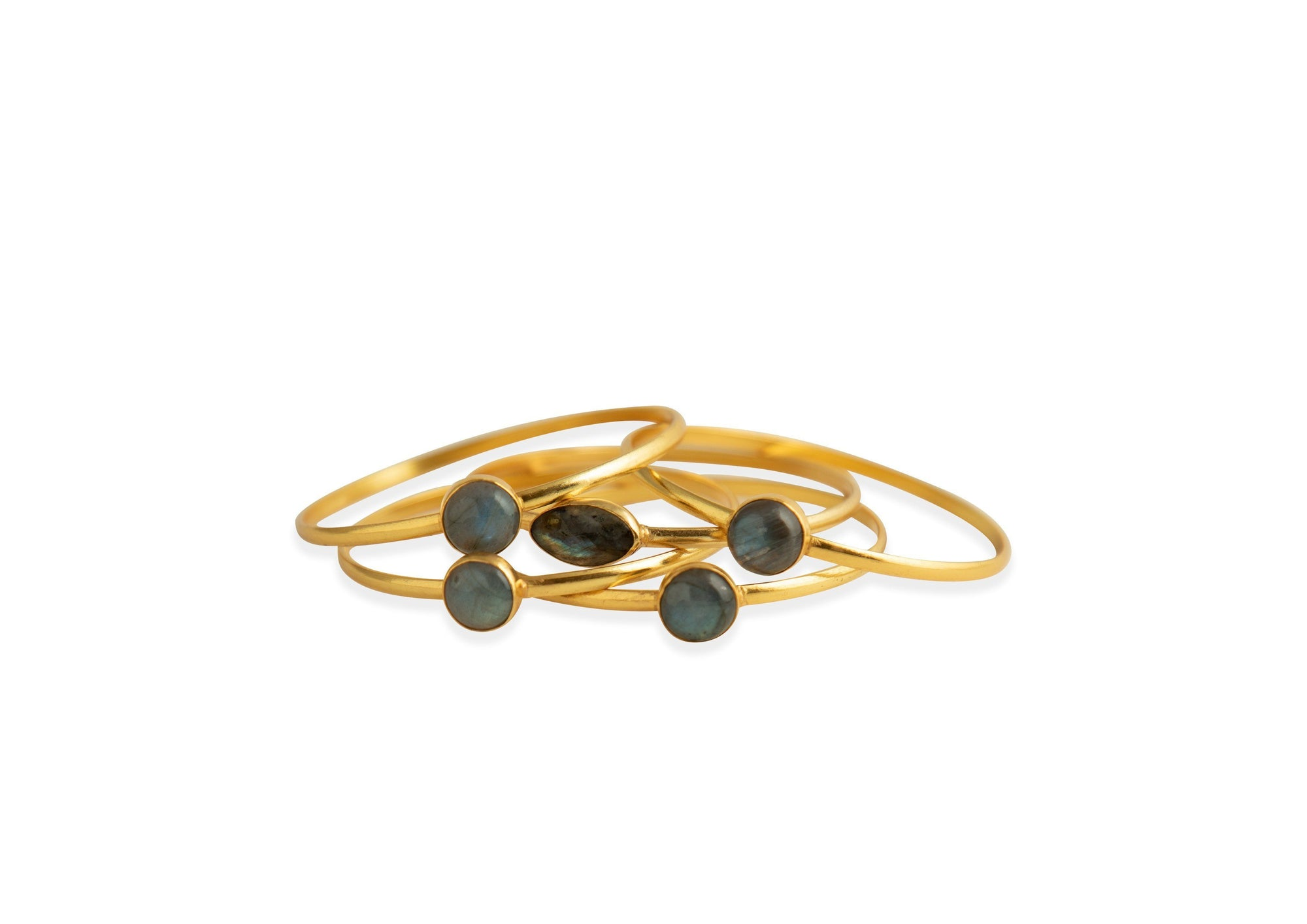 Strato set of five stackable bangles in labradorite - Bangle