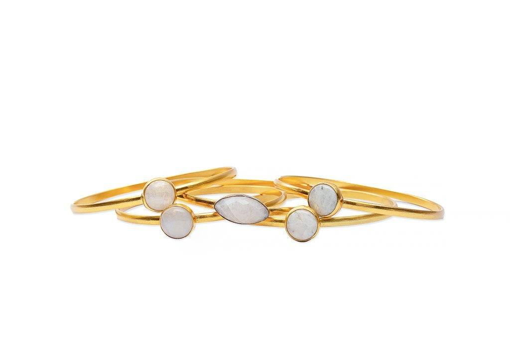 Bangle - Strato Set Of Five Stackable Bangles In Moonstone