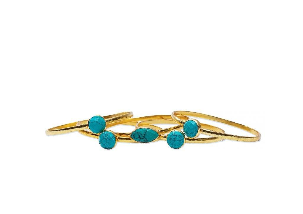 Bangle - Strato Set Of Five Stackable Bangles In Turquoise