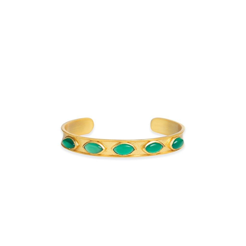 Audrey adjustable skinny cuff in green onyx - cuff