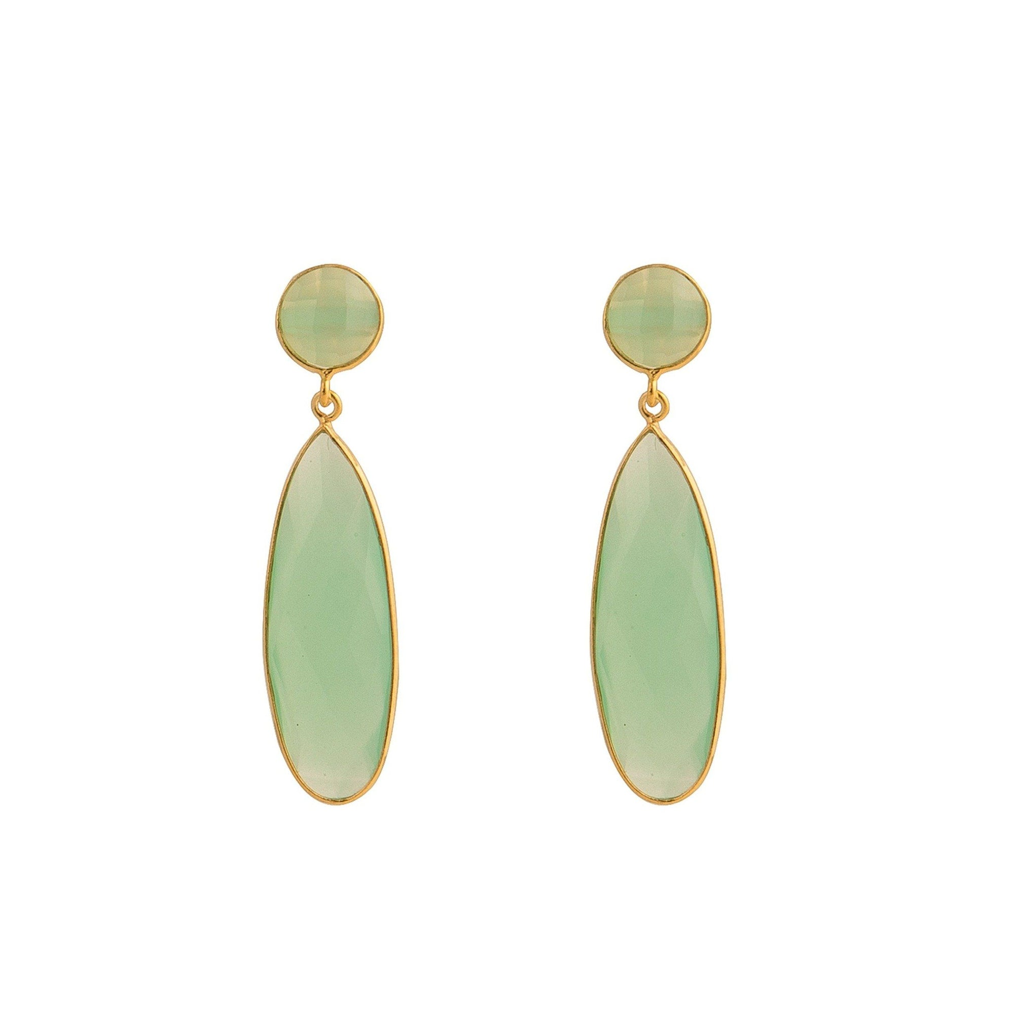 Bernadine gold-plated silver tear-drops in Aqua - Drops