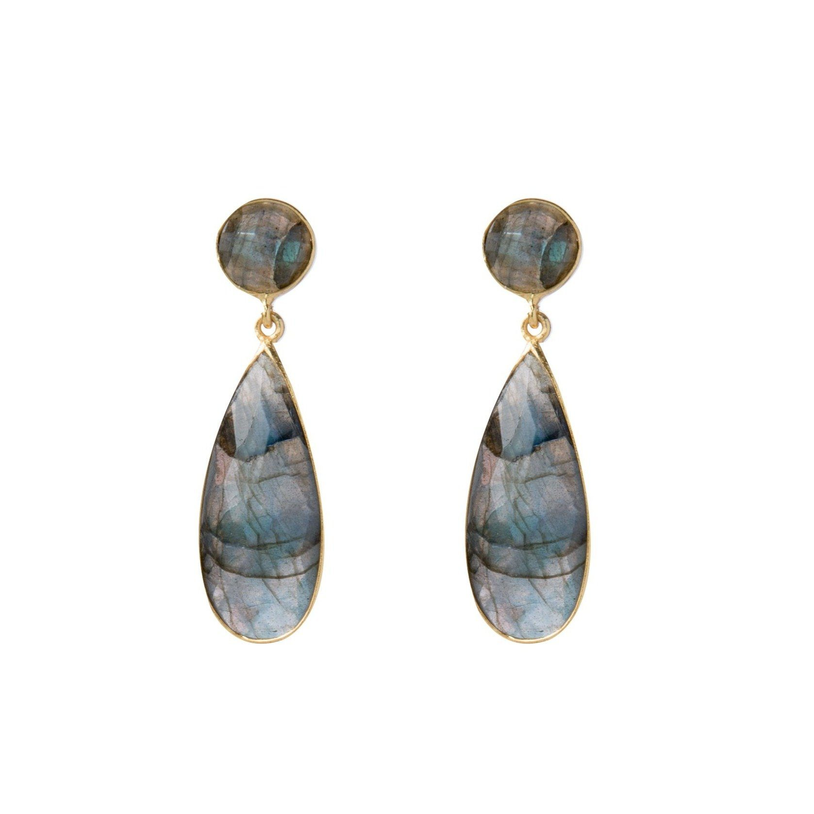 Bernadine gold-plated silver tear-drops in labradorite - Drops