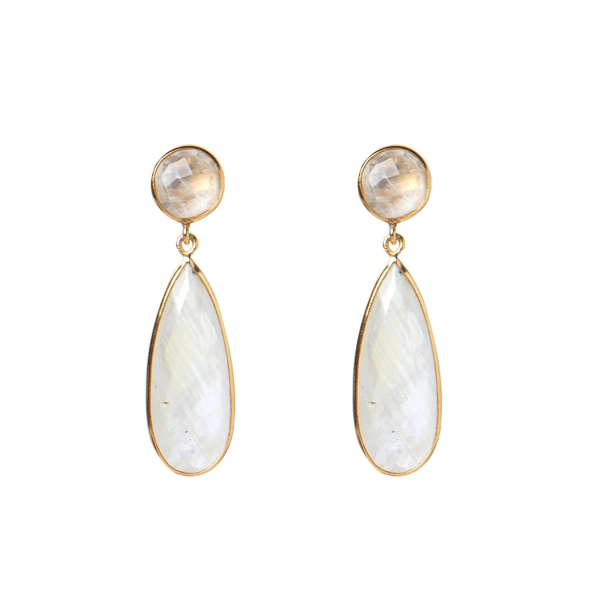 Bernadine gold-plated silver tear-drops in Moonstone - Drops