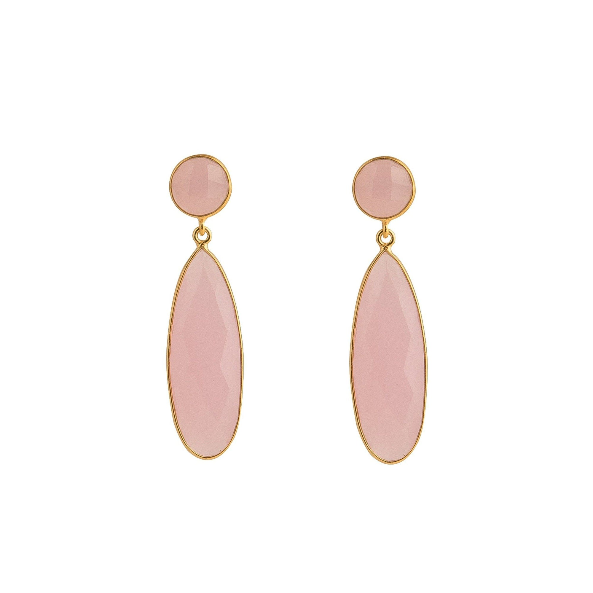 Bernadine gold-plated silver tear-drops in Rose quartz - Drops