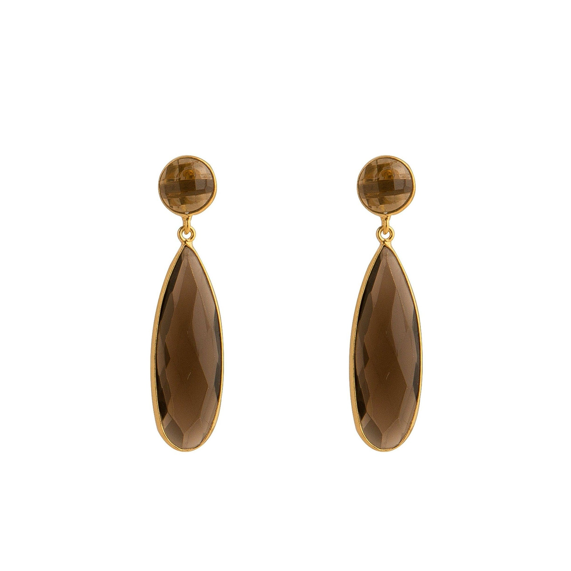 Bernadine gold-plated silver tear-drops in Smoky Topaz - Drops
