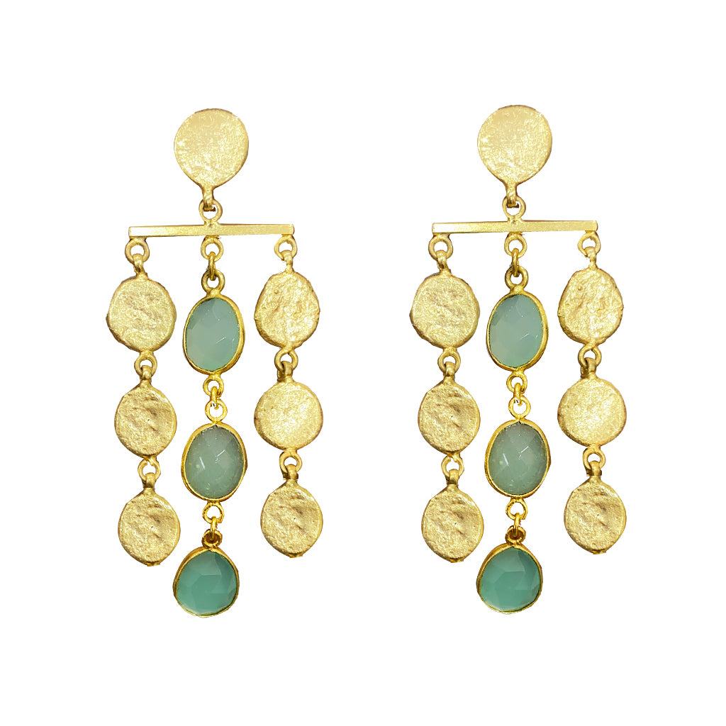 Statement Pieces - Malaga Three Tier Drops In Aqua