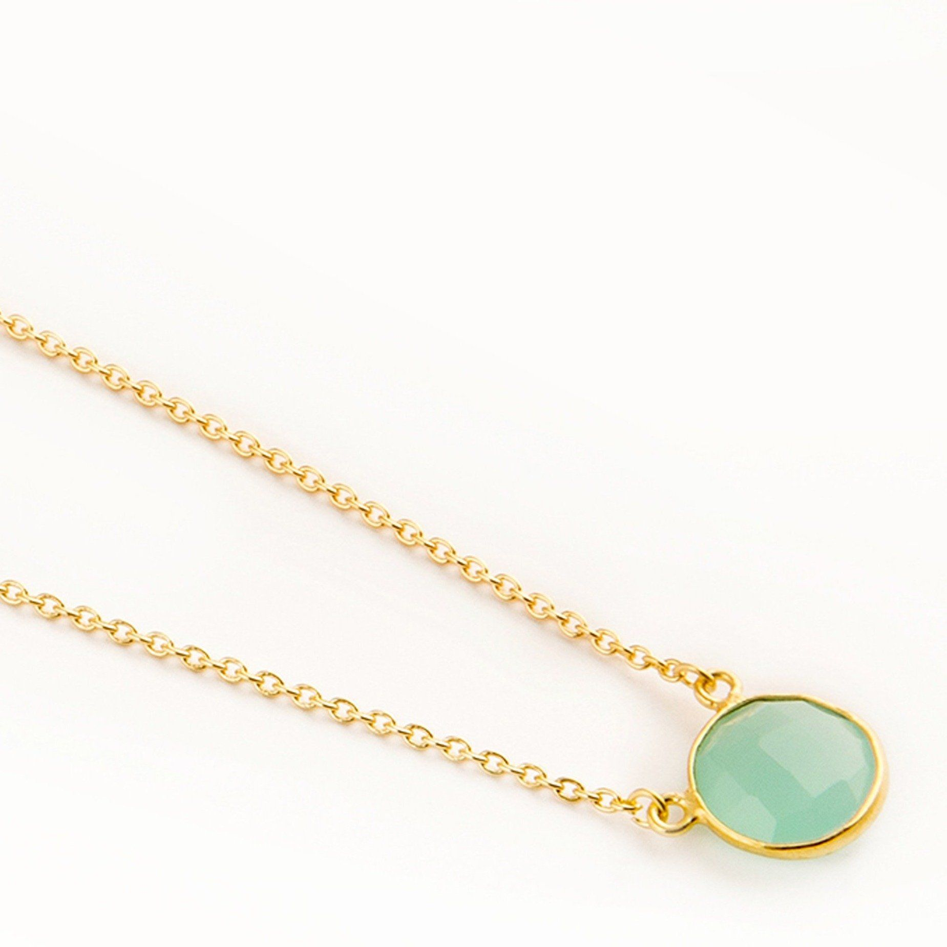 Adele gold-plated silver round chain in Aqua - Neckpieces