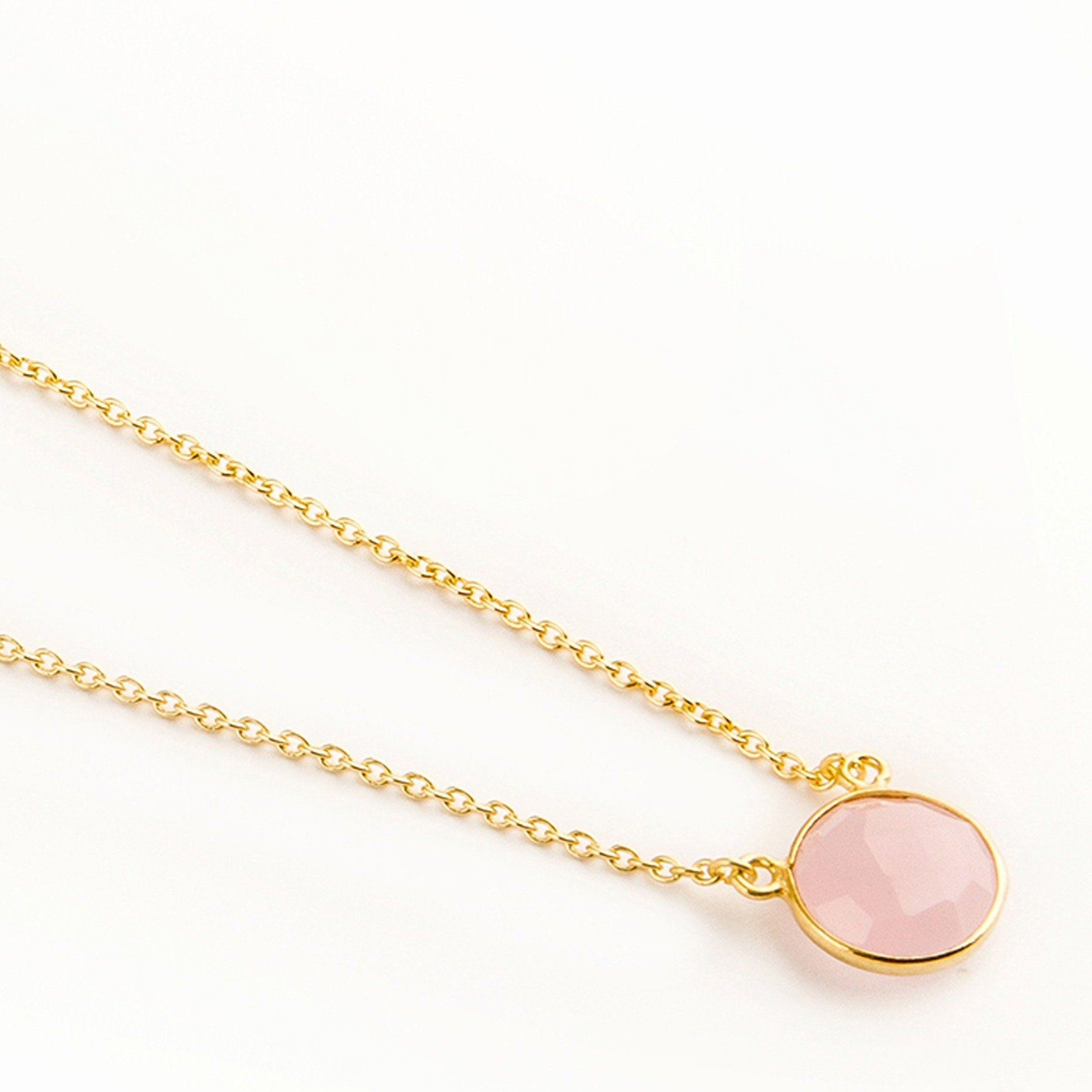 Adele gold-plated silver round chain in rose quartz - Neckpieces