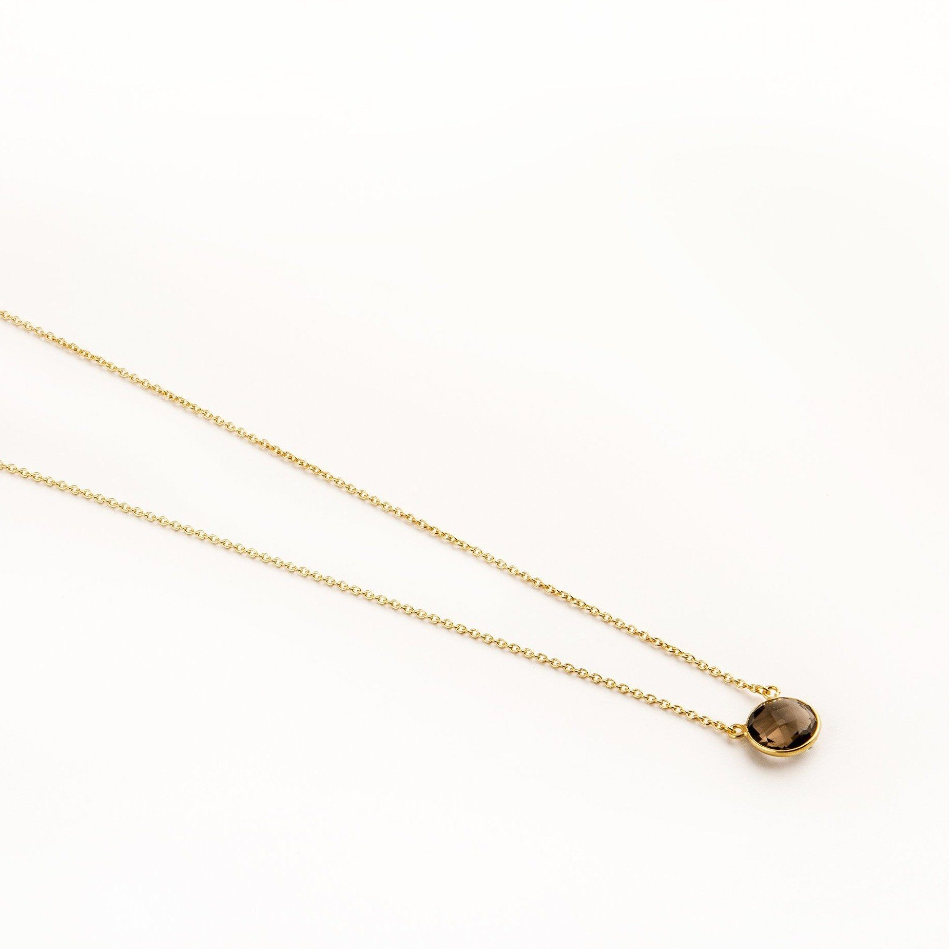 Adele gold-plated silver round chain in smoky topaz - Neckpieces