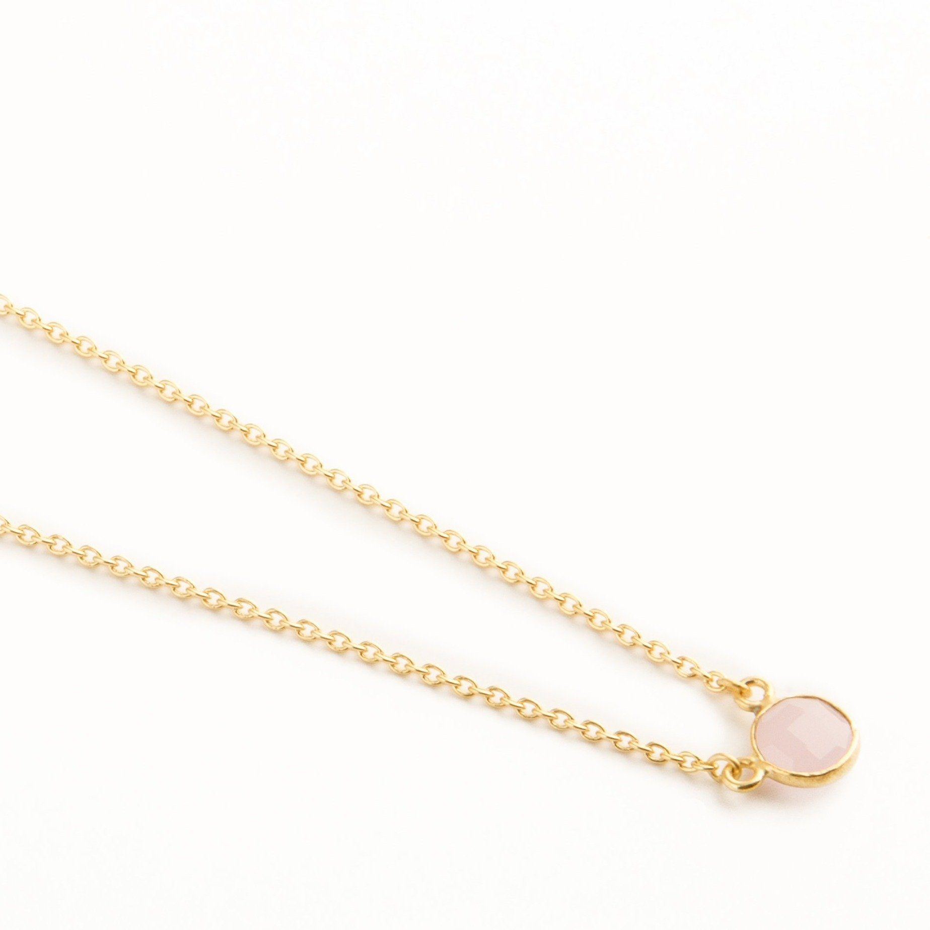 Adele mini gold-plated silver round chain in Rose Quartz - Neckpieces