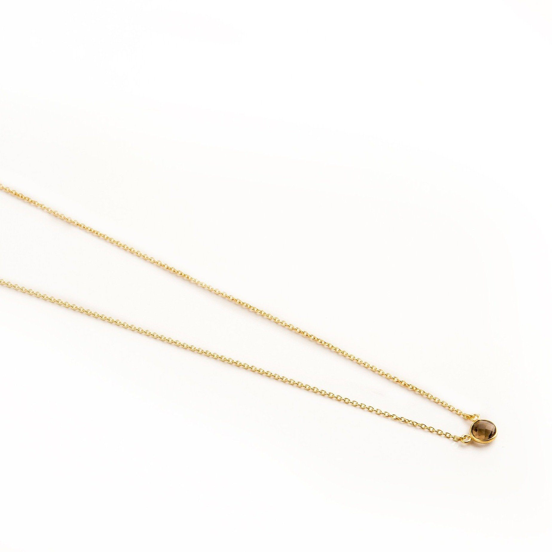 Adele mini gold-plated silver round chain in Smoky Topaz - Neckpieces