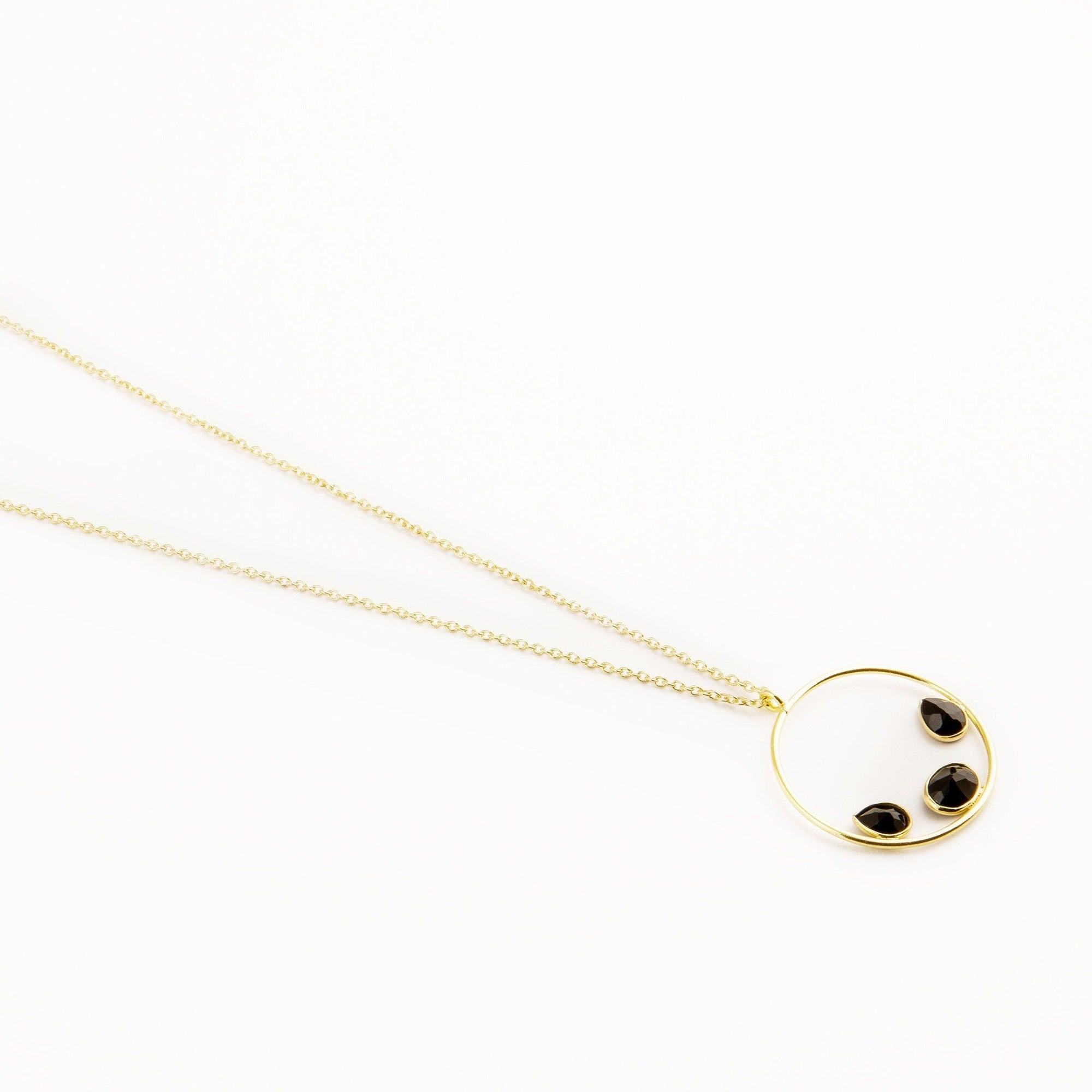 Jordie silver circle pendant in black onyx - Neckpieces