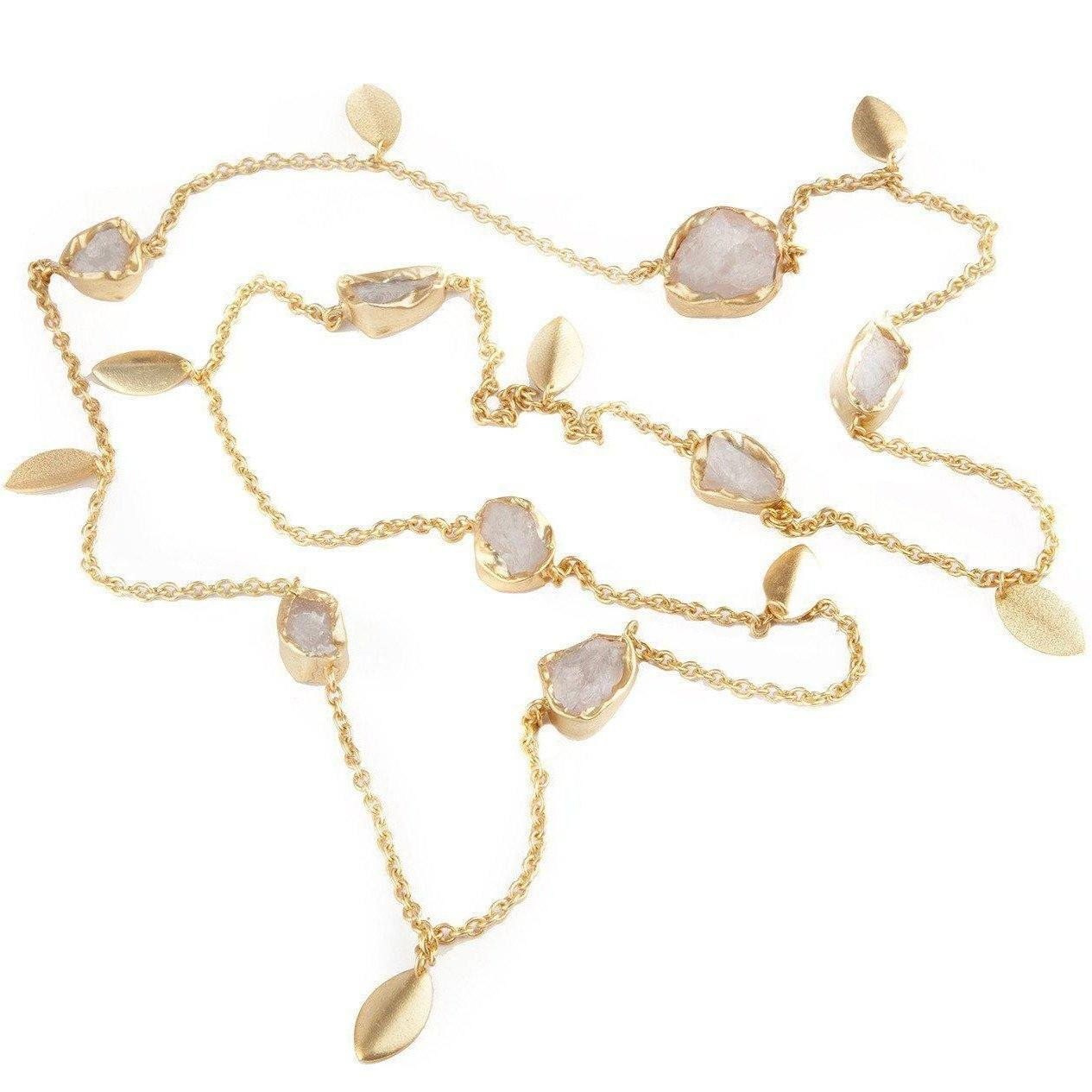 Prairie stone chain in raw rock quartz - Neckpieces