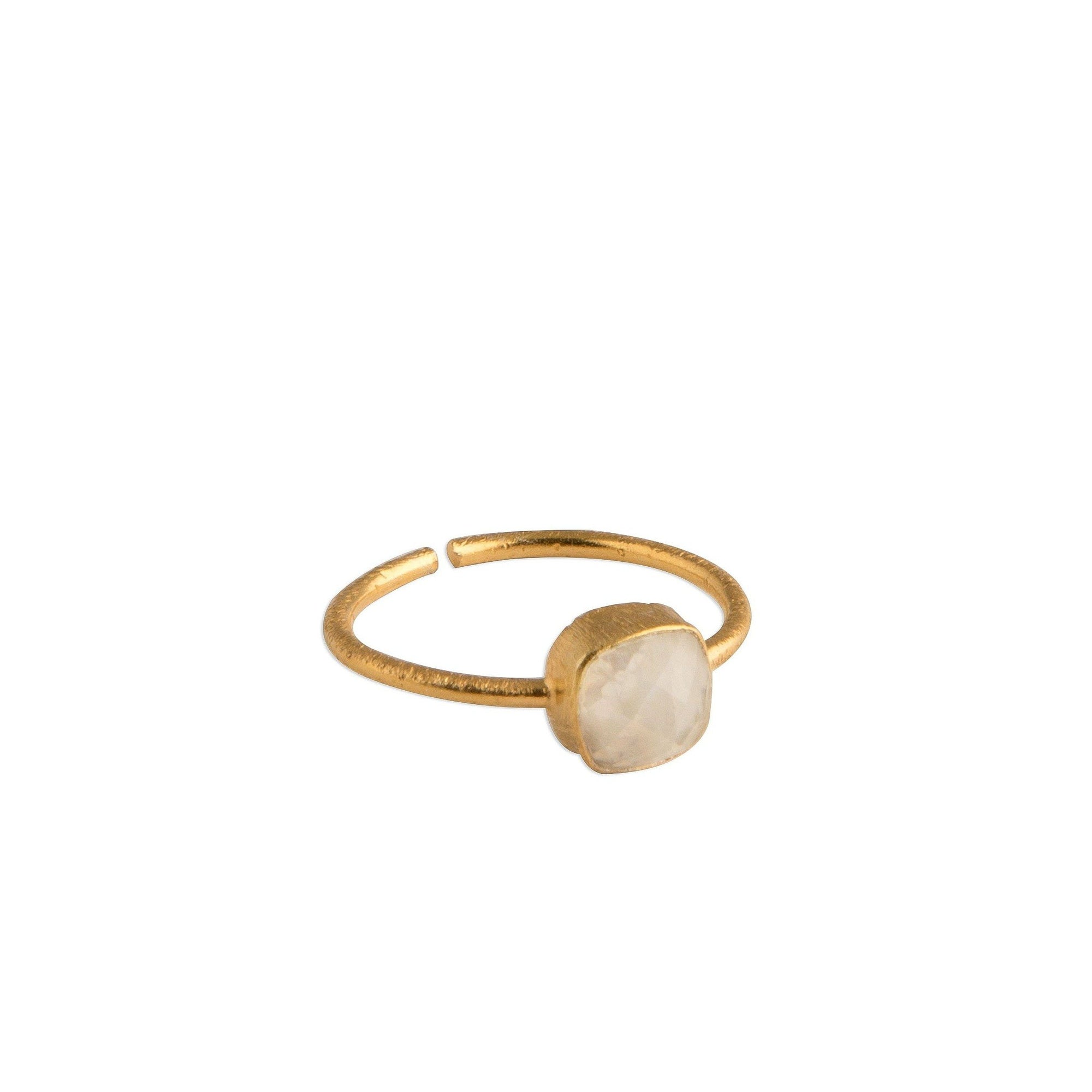Akemi square-cut ring in rainbow moonstone - Ring