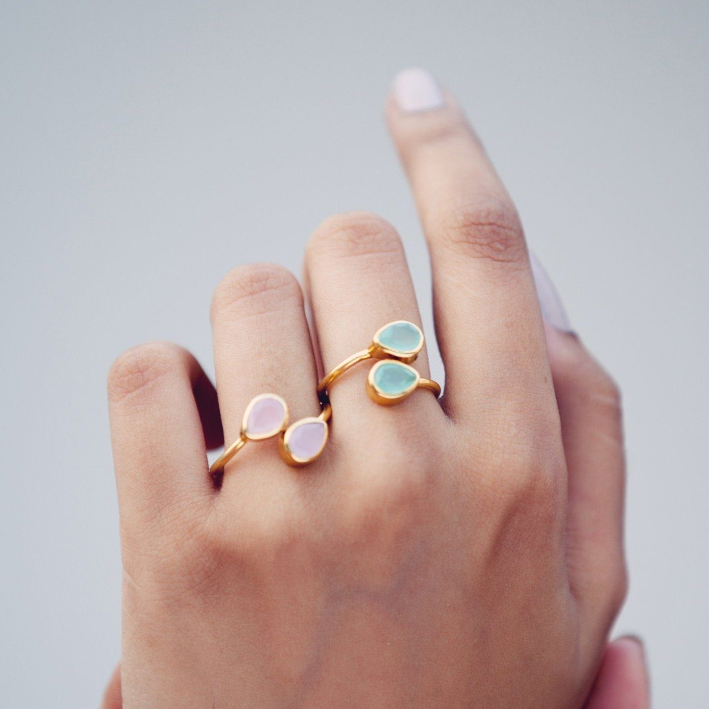 Sasha double tear-drop adjustable ring in aqua - Ring