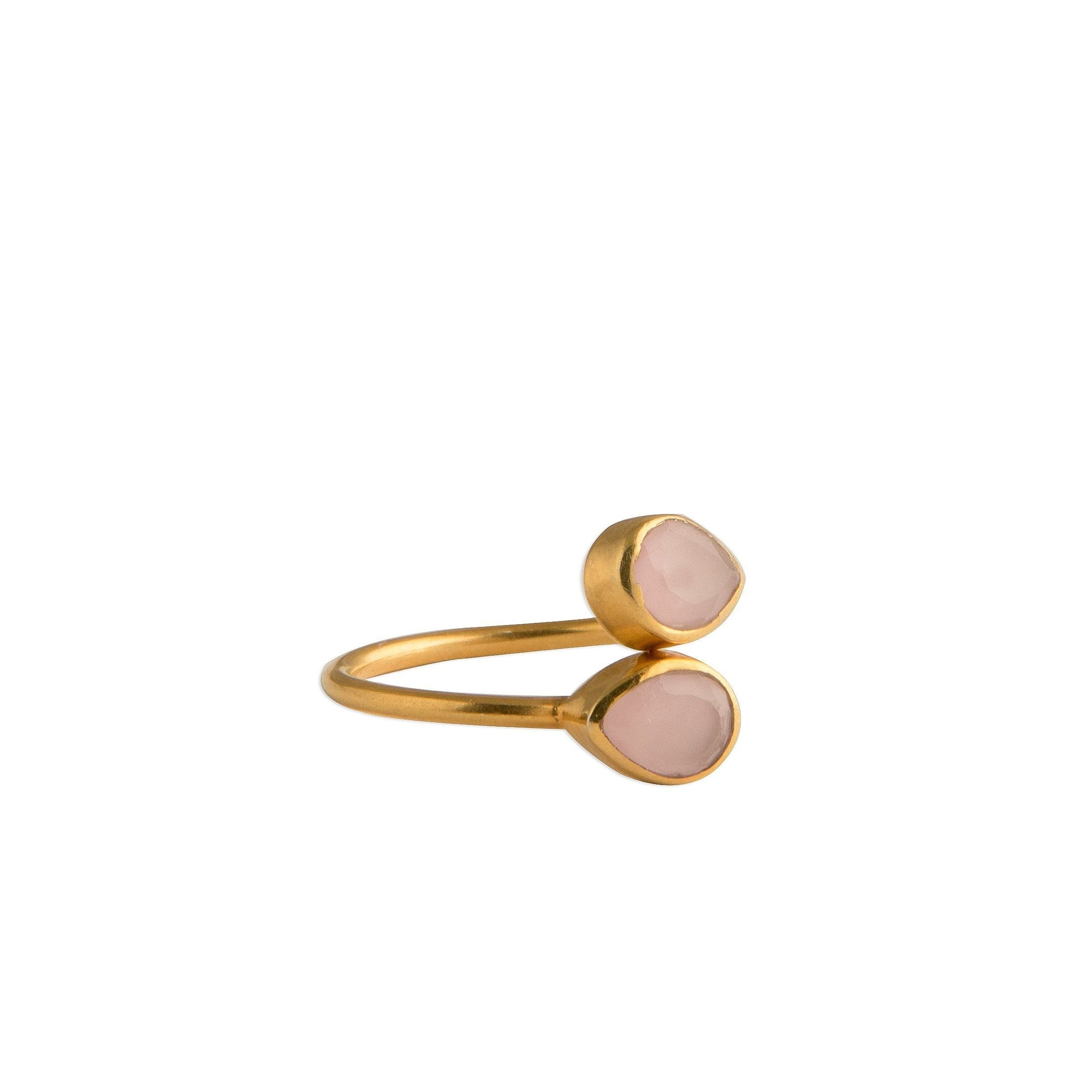 Sasha double tear-drop adjustable ring in rose quartz - Ring
