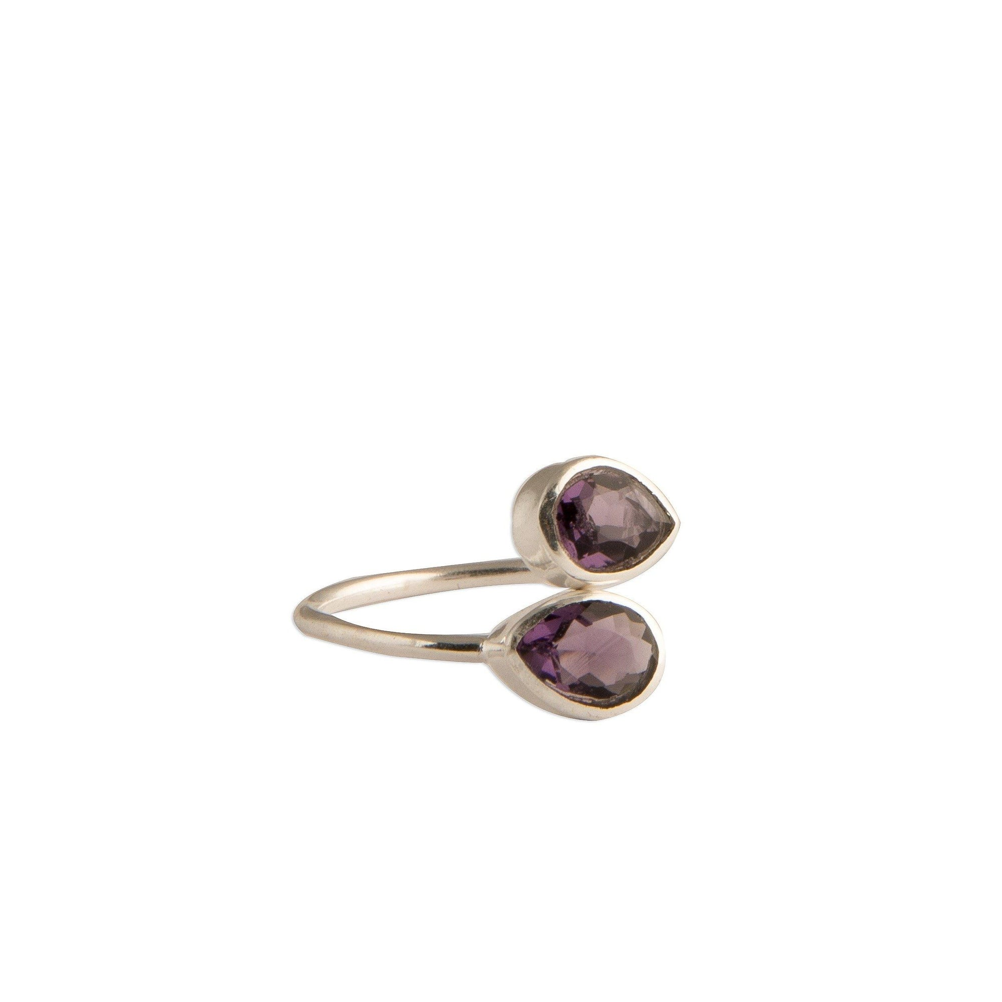 Sasha double tear-drop adjustable silver ring in amethyst - Ring