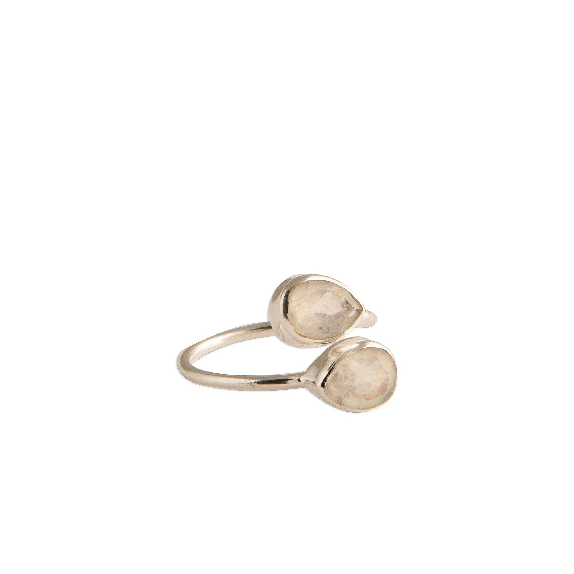 Sasha double tear-drop adjustable silver ring in moonstone - Ring