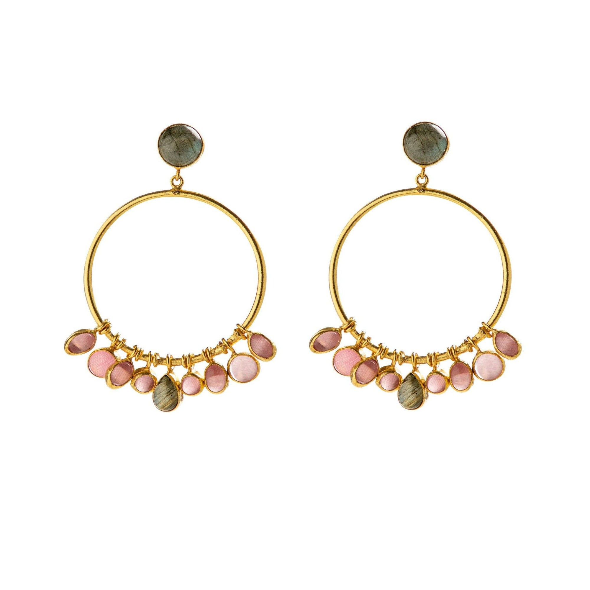 Cara single hoop in labradorite and pink onyx - Statement Pieces